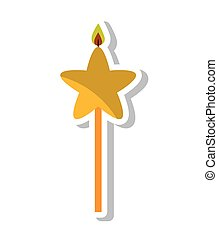 candle flame star birthday isolated icon vector illustration...