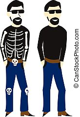 Man in casual clothes and dressed up in a skeleton costume...