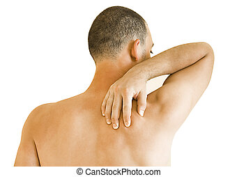 neck ache - young man having neck ache making massage