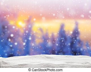 Abstract blur winter background in sunset - Abstract blur...