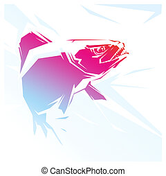 Piranha red illustration - illustration with a red fish...