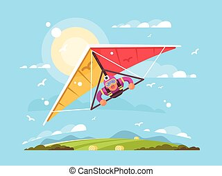 Man on a hang glider - Man on hang gliding extreme sport...