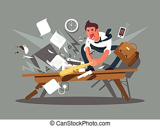 Angry and exasperated employee. Office worker smashing a...