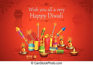 Fire cracker with decorated diya for happy Diwali holiday of...