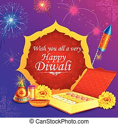 Fire cracker with decorated diya for happy Diwali holiday of India