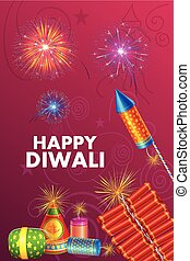 Colorful fire cracker for Happy Diwali holiday of India -...