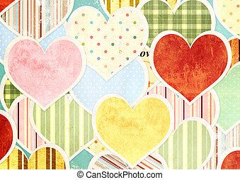 Valentine background with retro paper hearts of different...