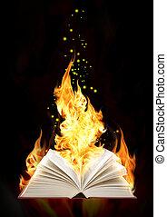 fuoco, libro, magia