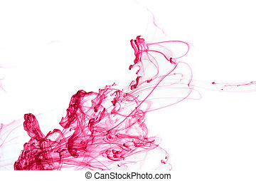 Red ink in water - Abstract pattern falling into the water...