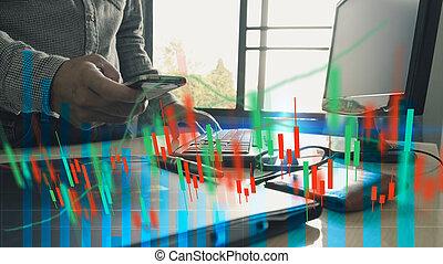 概念, 金融, 事務, 圖表, 圖表, 貿易, 分析, 股票