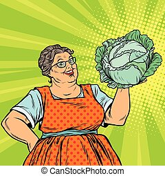 Smiling retro old woman with a head of green cabbage, pop...