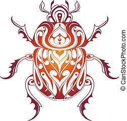 Beetle decorative tattoo - Beetle bug tattoo drawing with...