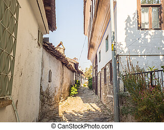 Sirince vintage alley walk way. - Sirince, Selcuk, Turkey -...