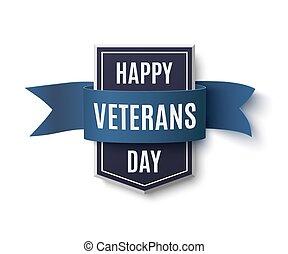 Happy Veterans Day badge on white.