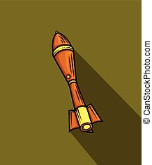 Missile Vector - Retro Missile Icon Vector Illustration
