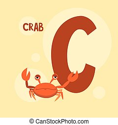 red crab on the pink square background. vector