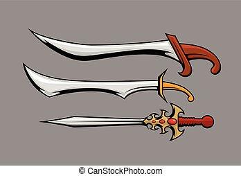 Antique Swords Vector Illustration
