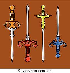 Medieval Swords Designs Vector Illustration