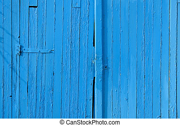 Old gate in wood, blue painted