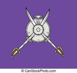 Ancient Cross Swords with Shield Vector Illustration