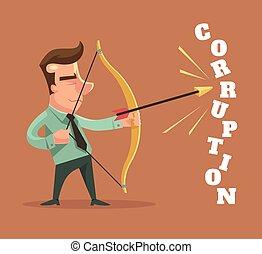 Stop corruption. Man broken corruption word. Vector flat...