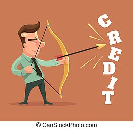 Fight with credits. Vector flat cartoon illustration