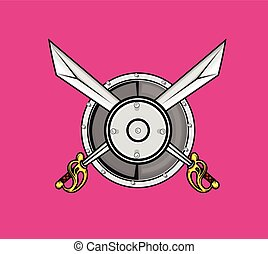 Ancient Shield with Cross Swords Vector Illustration
