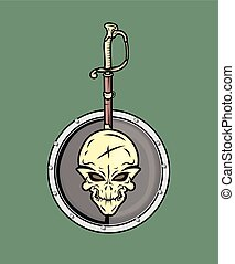 Pirate Sword and Shield Vector Illustration