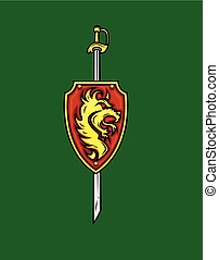 Tribal Lion Shield with Sword Vector Illustration