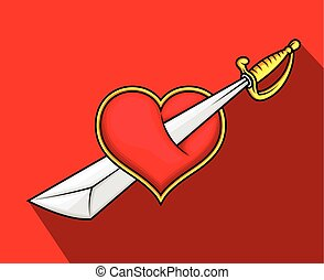 Heart Killed with Sword Vector Illustration