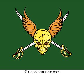 Skull with Wings and Swords Vector Illustration