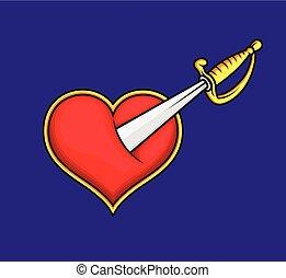 Sword in Heart Vector Illustration
