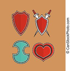Variety of Retro Shields with Swords Vector Illustration