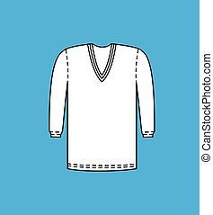 V-Neck Full Sleeve Sweater Vector Illustration
