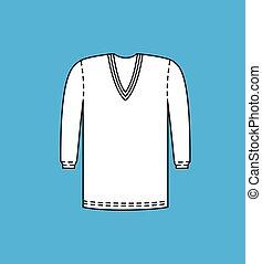 V-Neck Full Sleeve Sweater Vector Illustration