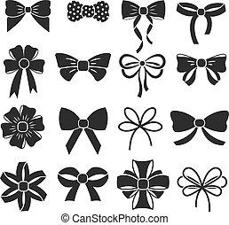 Holiday gift christmas bows vector set
