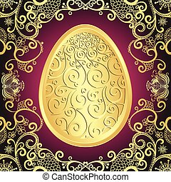 Easter greeting card with golden lacy big egg, vector
