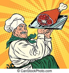 joyful retro cook with meat foot, pop art vector...