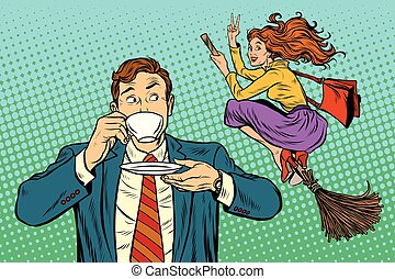 Retro man sees a woman cheerful witch, pop art retro vector...