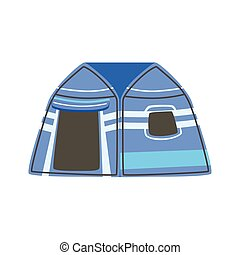 Stripy Blue Bright Color Tarpaulin Tent. Simple Childish...