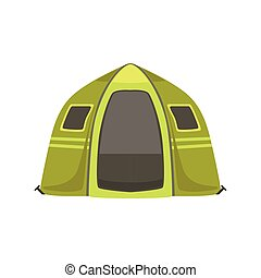 Small Green Bright Color Tarpaulin Tent. Simple Childish...