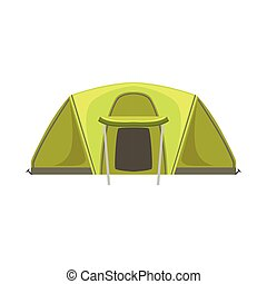 Large Green Bright Color Tarpaulin Tent. Simple Childish...