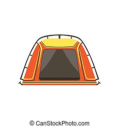 Small Orange Bright Color Tarpaulin Tent. Simple Childish...