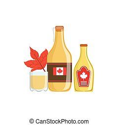 Maple Syrup As A National Canadian Culture Symbol. Isolated...