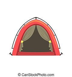 Small Red Bright Color Tarpaulin Tent. Simple Childish...