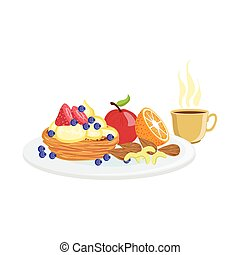 Cake, Fruit And Coffee Breakfast Food Drink Set - Cake,...