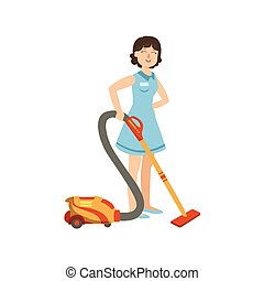 Hotel Professional Maid Cleaning The Floor With Hoover...