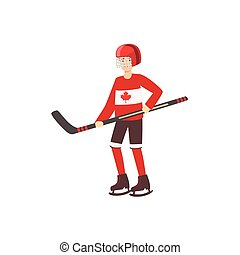 Hockey Player As A National Canadian Culture Symbol Isolated...