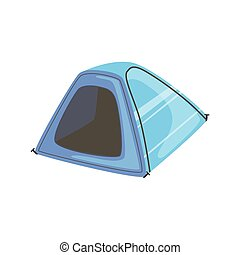 Small Blue Bright Color Tarpaulin Tent. Simple Childish...