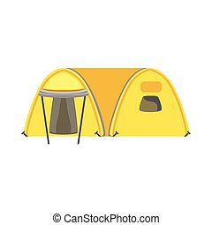 Yellow Large Family Bright Color Tarpaulin Tent. Simple...